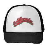 Logotipo de la escritura de California en rojo en  Gorras