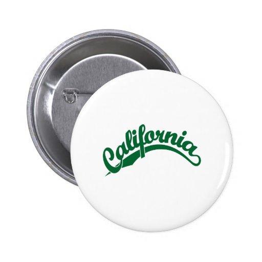 Logotipo de la escritura de California en verde Pins