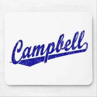 Logotipo de la escritura de Campbell en azul Mousepads
