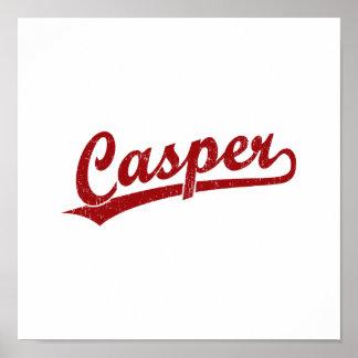 Logotipo de la escritura de Casper en rojo Poster