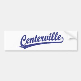 Logotipo de la escritura de Centerville en azul Pegatina De Parachoque