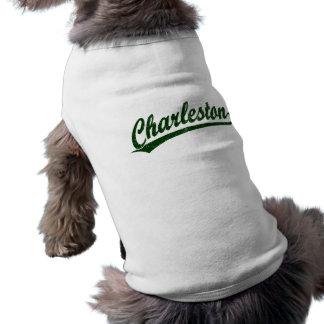 Logotipo de la escritura de Charleston en el verde Playera Sin Mangas Para Perro