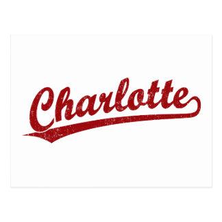 Logotipo de la escritura de Charlotte en rojo Tarjetas Postales