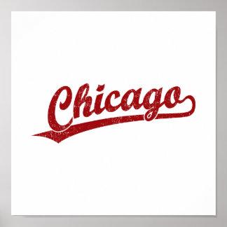 Logotipo de la escritura de Chicago en rojo Poster