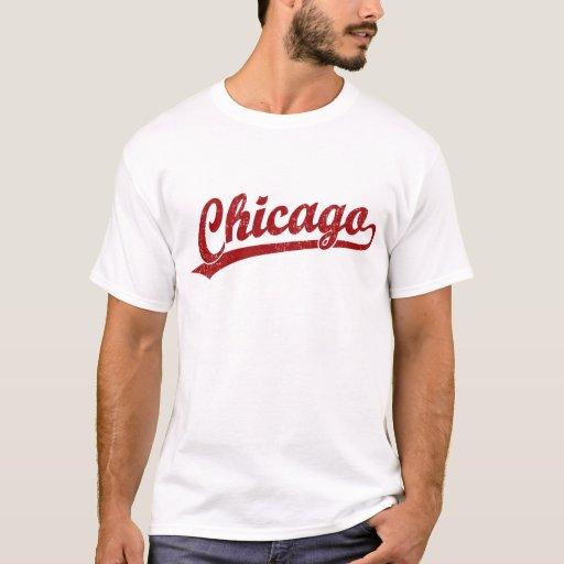Logotipo de la escritura de Chicago en rojo Playera