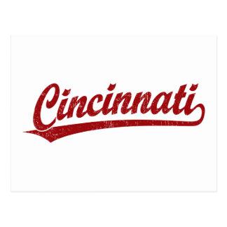 Logotipo de la escritura de Cincinnati en rojo Postales