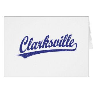 Logotipo de la escritura de Clarksville en azul Tarjeta De Felicitación