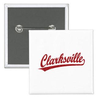 Logotipo de la escritura de Clarksville en rojo Pin Cuadrado