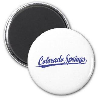 Logotipo de la escritura de Colorado Springs en az Imán Para Frigorífico