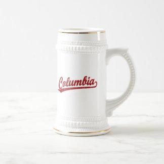 Logotipo de la escritura de Columbia en rojo Jarra De Cerveza