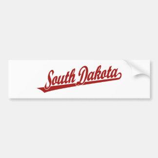 Logotipo de la escritura de Dakota del Sur en rojo Pegatina Para Auto