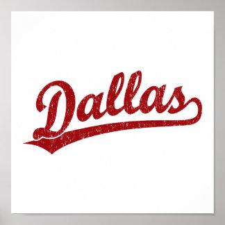 Logotipo de la escritura de Dallas en rojo Posters
