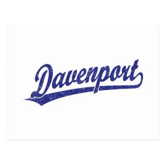 Logotipo de la escritura de Davenport en azul Tarjeta Postal