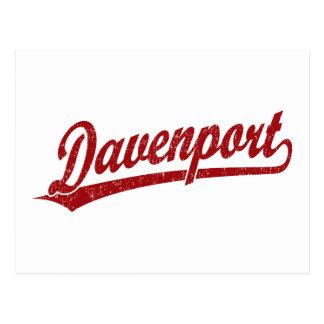 Logotipo de la escritura de Davenport en rojo Tarjeta Postal
