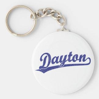 Logotipo de la escritura de Dayton en azul Llaveros Personalizados