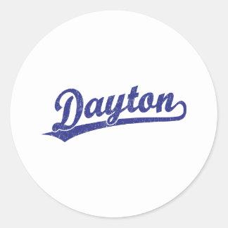 Logotipo de la escritura de Dayton en azul Pegatina Redonda