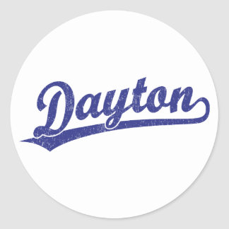 Logotipo de la escritura de Dayton en azul Etiquetas Redondas