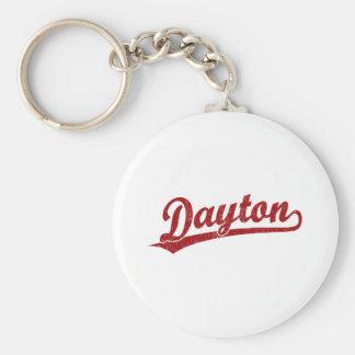 Logotipo de la escritura de Dayton en rojo Llavero