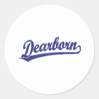 Logotipo de la escritura de Dearborn en azul Pegatina Redonda
