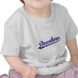 Logotipo de la escritura de Dearborn en azul Camiseta