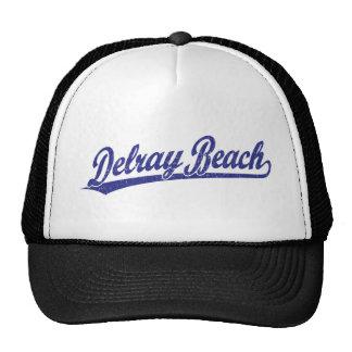 Logotipo de la escritura de Delray Beach en azul Gorro De Camionero