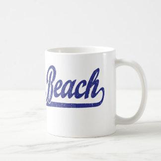Logotipo de la escritura de Delray Beach en azul Taza