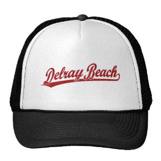 Logotipo de la escritura de Delray Beach en rojo Gorros