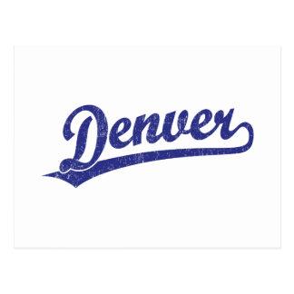 Logotipo de la escritura de Denver en azul Postales