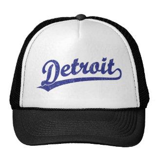 Logotipo de la escritura de Detroit en azul Gorros Bordados