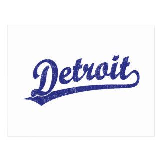Logotipo de la escritura de Detroit en azul Tarjetas Postales