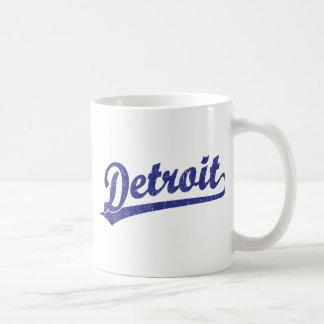 Logotipo de la escritura de Detroit en azul Taza De Café