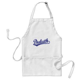 Logotipo de la escritura de Duluth en azul Delantales