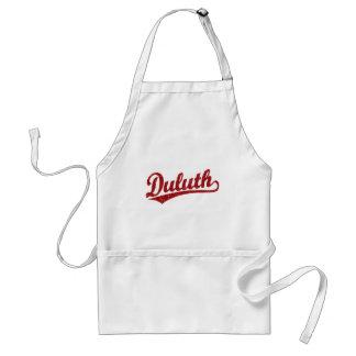 Logotipo de la escritura de Duluth en rojo Delantal