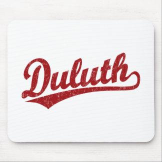 Logotipo de la escritura de Duluth en rojo Tapetes De Ratón