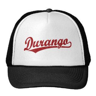 Logotipo de la escritura de Durango en rojo Gorras