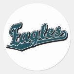 Logotipo de la escritura de Eagles en verde de Pegatina Redonda
