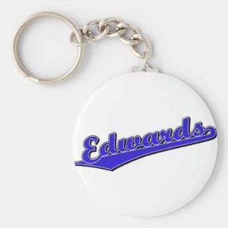 Logotipo de la escritura de Edwards en azul Llavero Redondo Tipo Pin