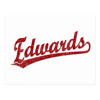 Logotipo de la escritura de Edwards en rojo Postal
