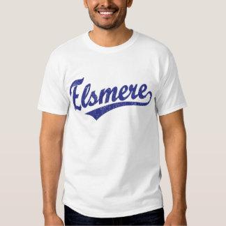 Logotipo de la escritura de Elsmere en azul Remera