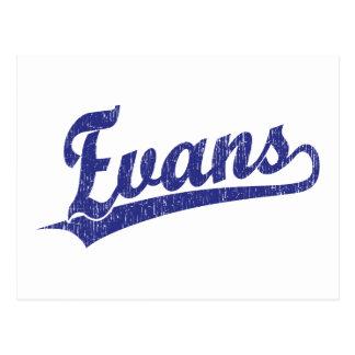 Logotipo de la escritura de Evans en azul Postales
