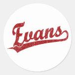 Logotipo de la escritura de Evans en rojo Pegatinas Redondas