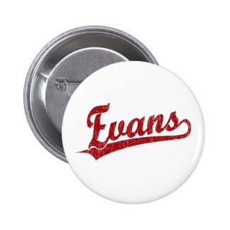 Logotipo de la escritura de Evans en rojo Pin Redondo 5 Cm
