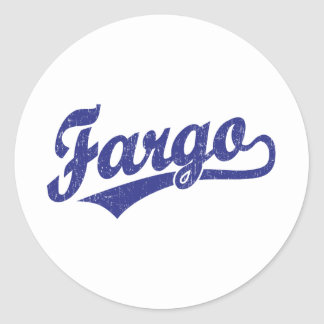 Logotipo de la escritura de Fargo en azul Pegatina Redonda