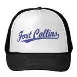 Logotipo de la escritura de Fort Collins en azul Gorros Bordados