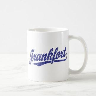 Logotipo de la escritura de Frankfort en el azul Taza Clásica