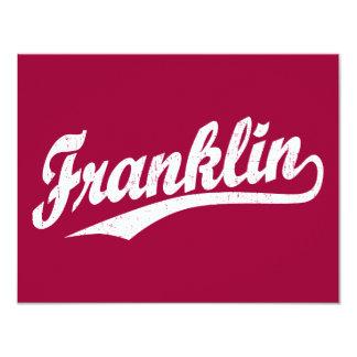 """Logotipo de la escritura de Franklin en el blanco Invitación 4.25"""" X 5.5"""""""