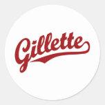 Logotipo de la escritura de Gillette en rojo Pegatina Redonda
