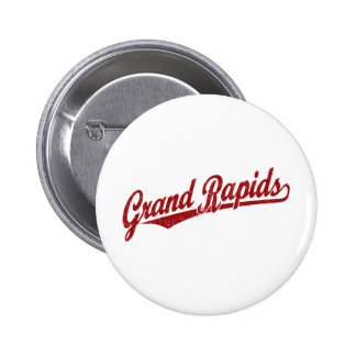 Logotipo de la escritura de Grand Rapids en el roj Pin Redondo 5 Cm