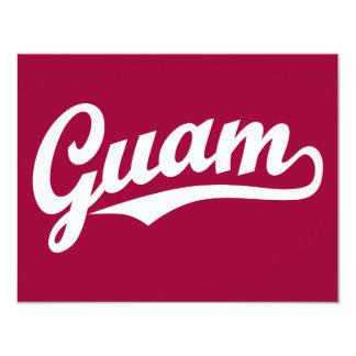 Logotipo de la escritura de Guam en blanco Invitación 10,8 X 13,9 Cm