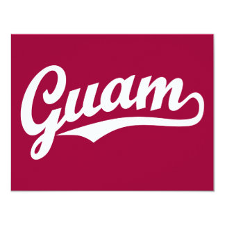 """Logotipo de la escritura de Guam en blanco Invitación 4.25"""" X 5.5"""""""